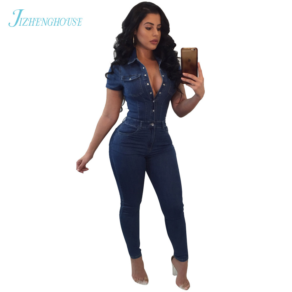 JIZHENGHOUSE Women Denim Jumpsuits Ladies 2018 Fashion Overalls Casual One Pieces Pants Trousers Female Jeans Pants