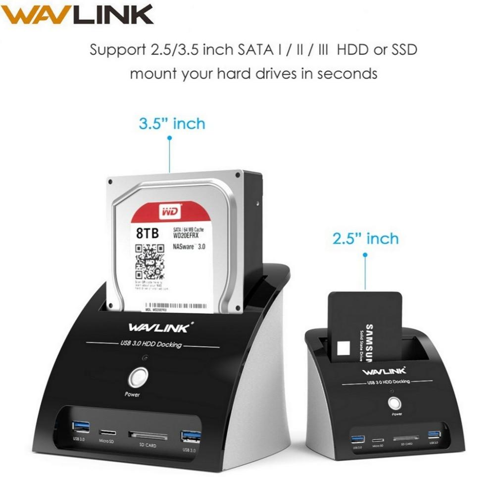 Wavlink Enclosure-Card-Reader Docking-Station SDD Hard-Drive Sata-Hdd Micro-Sd External