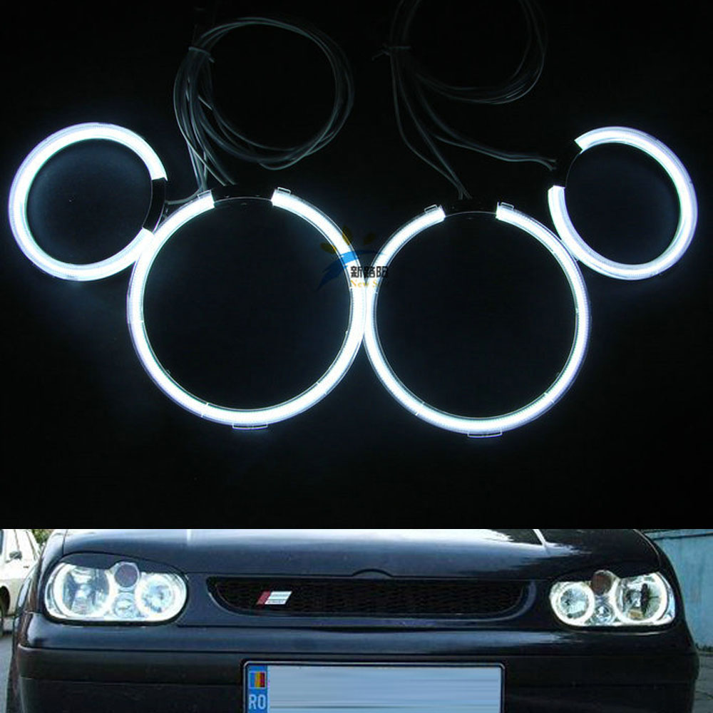 For Volkswagen VW Golf 4 IV MK4 1998-2004 Excellent led Angel Eyes Ultrabright illumination smd led Angel Eyes Halo Ring kit for vw golf gti tdi r32 mk4 1998 2004 front bumper grill with led angel eyes fog lights switch wiring kit 9443
