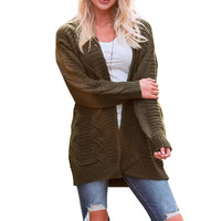 R&H New Thick Knitting Twisted Sweater Solid Color Cardigan Medium And Long Full Sleeve Sweater Sueter Mujer R&H 66835