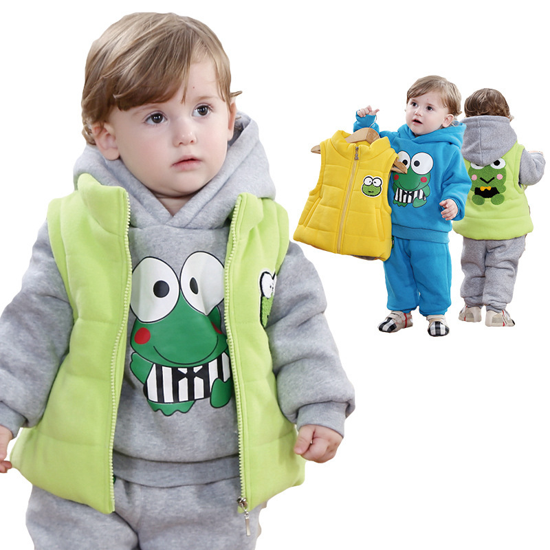 ФОТО Anlencool 2017 Free shipping  baby's winter clothing frog vest three-piece cotton David baby clothing set baby boys clothes
