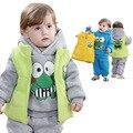 Anlencool 2017 Frete grátis roupas de inverno do bebê sapo colete três-piece algodão David roupas de bebê definir meninos roupas
