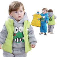 Anlencool 2018 Free shipping baby's winter clothing frog vest three piece cotton David baby clothing set baby boys clothes