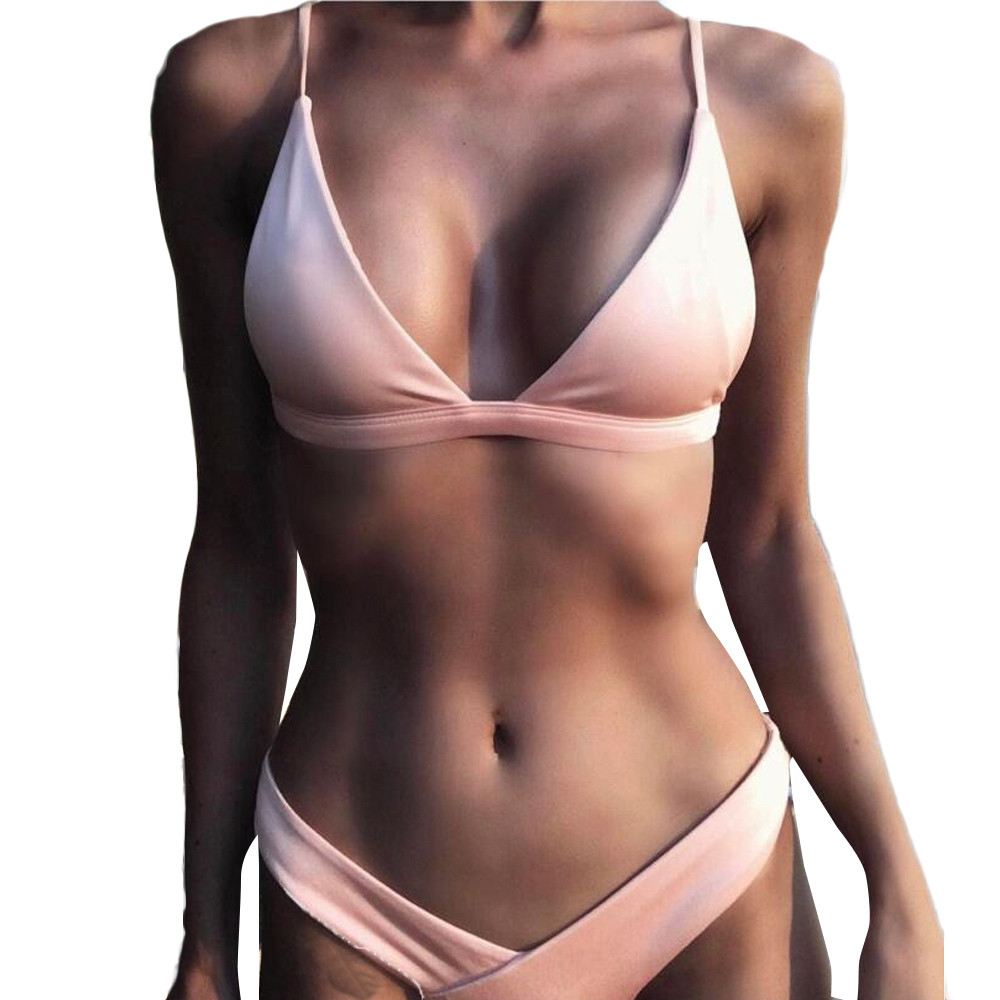 Women Sexy Push-Up Padded Bra Bikini Set Bikini Beachwear 2017 Solid Bikini Swimsuit Bathing Suit maillot de bain femme Biquin 2017 women sexy bandage bikini set push up padded bra swimsuit beachwear swimming suit swimwear maillot de bain femme may beach