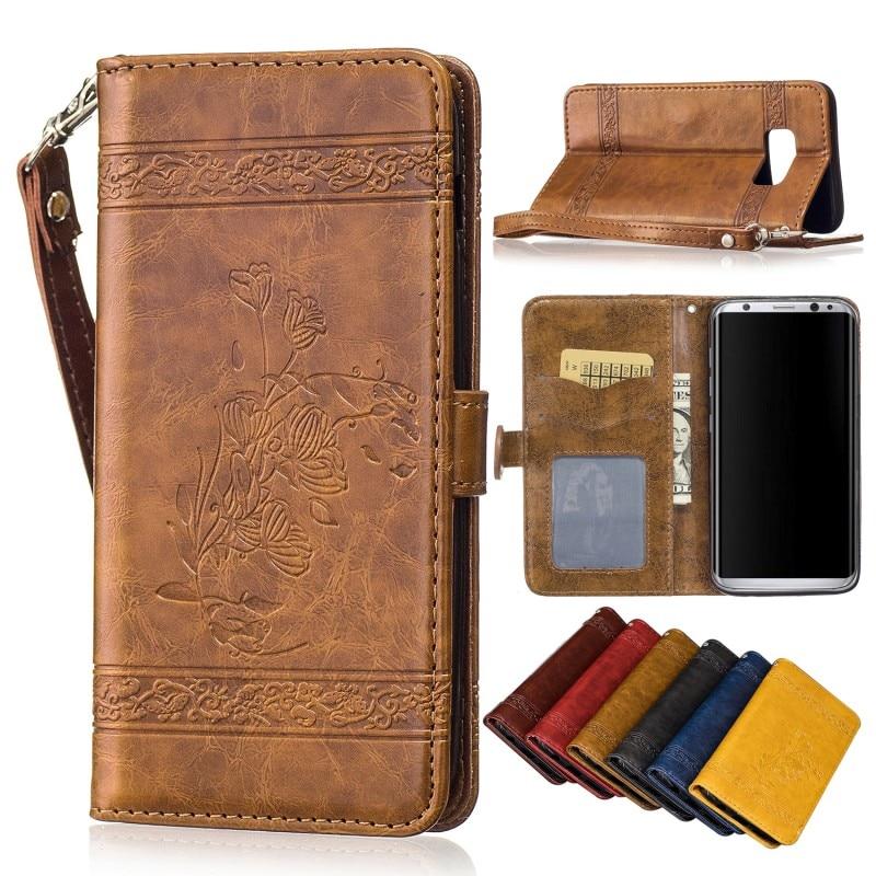 Luxe Rétro Huile En Relief cire portefeuille carte pu cuir Stand Cas de couverture pour Samsung galaxy s8 plus Samsung S8 Avec lanière