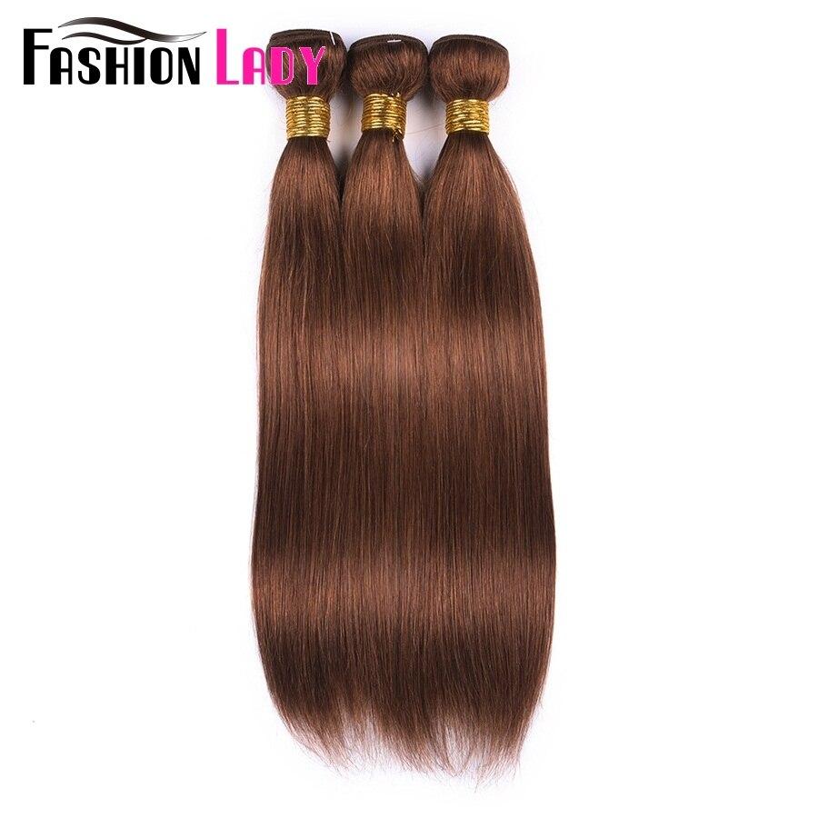 Fashion Lady Pre-Colored Peruvian Straight Hair Bundles Brown Color 30# Human Hair Bundles 3 Bundle Deals Non-Remy
