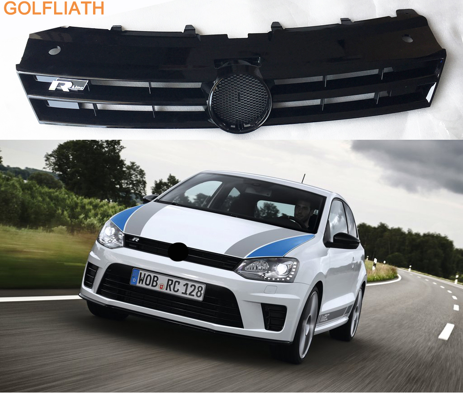 GOLFLIATH Rline STYLE ABS Front Bumper Center Honeycomb Grill Grille For Volkswagen Polo 2011-2017 Car-styling 10th front bumper grill abs material middle grille racing grills type r grill mesh case for honda civici 2016 2017