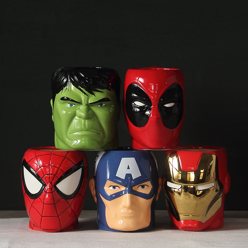 2019 Fashion Super Iron Man Hero And Batman Spiderman Ceramic Mugs Cup Creative Milk Coffee Mug Cartoon The Avengers Bowls 300ml|Mugs| |  - title=