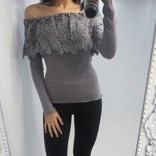 Пикантные облегающие рубашки с цветочным принтом и вырезом, повседневный пуловер с длинными рукавами, топы, осенние базовые футболки, кружевные лоскутные кофты, Femininas SJ093U