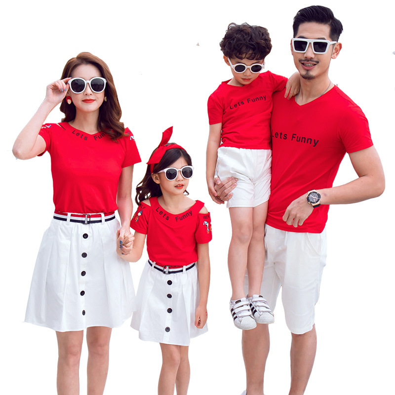 Mom Daughter Short T-shirt and Skirt Suit Father Son Letter Print Top and Short Pants Set Family Matching Outfit Casual ClothesMom Daughter Short T-shirt and Skirt Suit Father Son Letter Print Top and Short Pants Set Family Matching Outfit Casual Clothes
