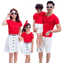 Mom Daughter Short T-shirt and Skirt Suit Father Son Letter Print Top and Short Pants Set Family Matching Outfit Casual Clothes family matching clothes 2018 new letter print t shirt lace shorts set 2pcs dad son sport suit family clothing korean casual sets