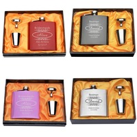 A Set Of Personalised Engraved 6oz Hip Flask With Orange Close Flask Wedding Favor Gift For