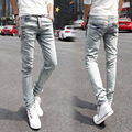 2016 CINZA Skinny Jeans calças de Brim dos homens Famosa Marca magro elastic Biker Lavado JEAN