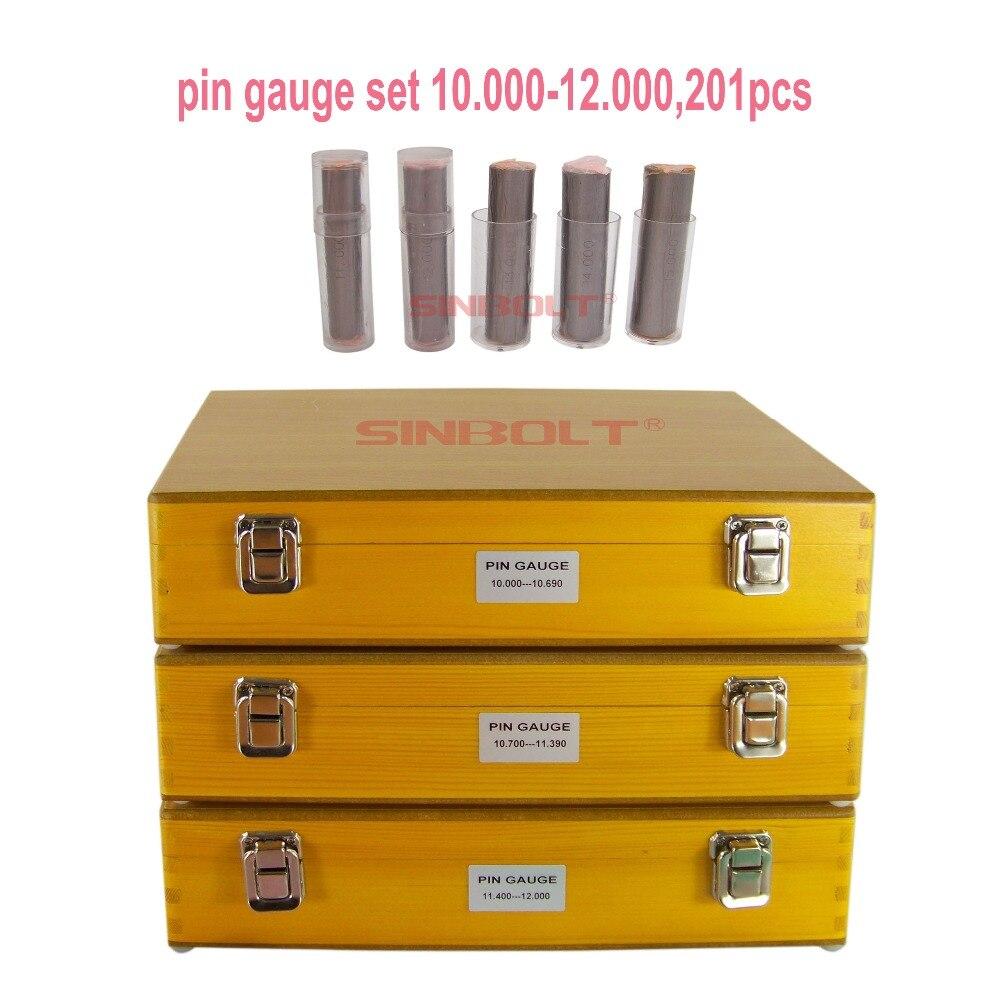 Sinbolt Metric Pin Gauge Set,10.000mm--12.000mm,201pcs+Pin Gauge Handles,fast Delivery!