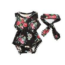 Bebê recém-nascido Roupas de Menina Floral Tassel Cotton Romper e Headband Set Macacão Infantil Roupas de Verão 2017 Roupa Roupas Bebes