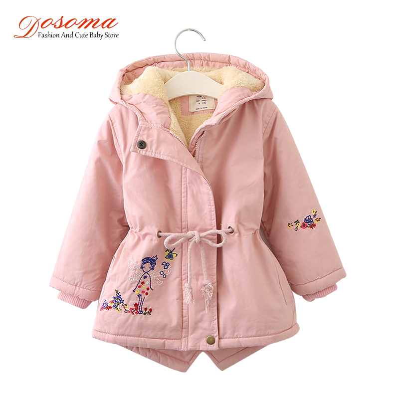 Dosoma coats and jackets for girls autumn winter Korean embroidered fur hooded coat thick cotton warmer kids winter outerwears