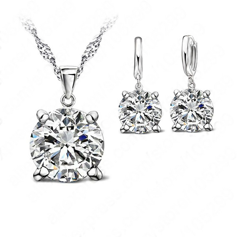 Fashion Austria Crystal  Earrings Necklace Jewelry Sets Classic Wedding Dress 925 Sterling Silver  Fashion Pendant Necklace