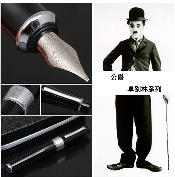 DUKE 2009 CHUNKY BLACK CHAPLIN ROLLER BALL PEN /Fountain Pen Artist gift pen
