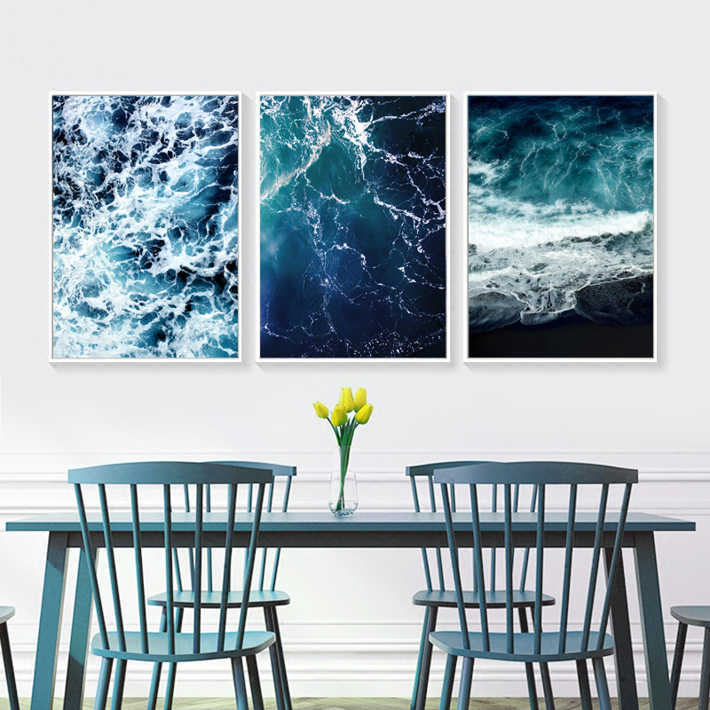 Nordic Poster Sea Wall Art Blue Posters And Prints Water Poster Black Abstract Painting Wall Pictures For Living Room Unframed