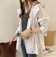 M womens new 2019 Korean version of loose casual the hooded long-sleeved cardigan coat