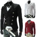 Latest Steampunk Retro Slim Fit British male double breasted Blazer fashion men slim jacket 9306 BLACK/RED/WHITE CASUAL DRESS