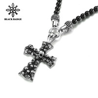 Religious Cross Jesus Skull Pendant Necklace INRI Crucifix black Color Men Chain Christian Jewelry Holiday Gifts