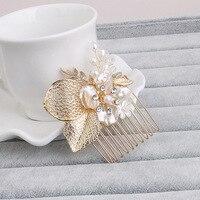 Tinh tế Vàng Rõ Ràng Tinh Thể và Đá Giả Lá Nước Ngọt Ngọc Trai Wedding Hair Comb Cô Dâu Tóc mảnh phụ kiện Tóc