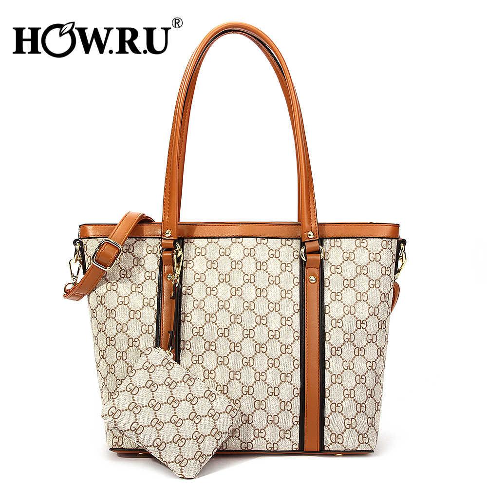 7d403d421cdd HOWRU дизайнерские сумки известного бренда женские сумки-тоут с длинными  ручками большой емкости сумка на