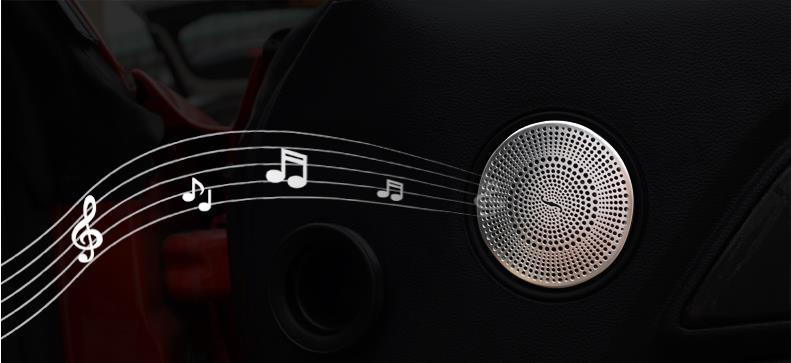 1 pair stainless steel car interior decorative door upper small speaker cover for 2015 2016 new Ford Mustang, perfect finishing 1 pair stainless steel interior decorative car door handle cover with 3m double sided tape for 2015 2016 new ford mustang