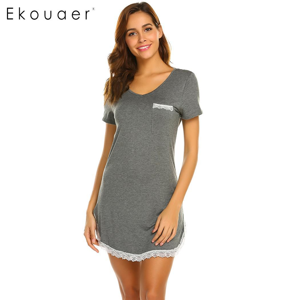 Ekouaer Summer Nightwear Chemise Nightgown O-Neck Short Sleeve Lace Hem Nightdress Soft Home Sleepwear Sleepshirt