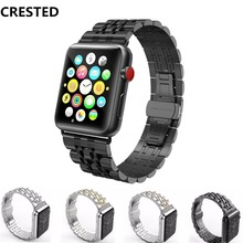 CRESTED Strap Bracelet For Apple Watch band 42mm 38mm iwacth series 3 2 1 Wrist bands 316L Stainless Steel Butterfly watchband