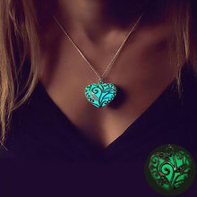 Vienkim In The Dark Stone Luminous Pendant Crystal Hollow Heart Pendants Necklaces For Women Men Jewelry Halloween Gifts(China)