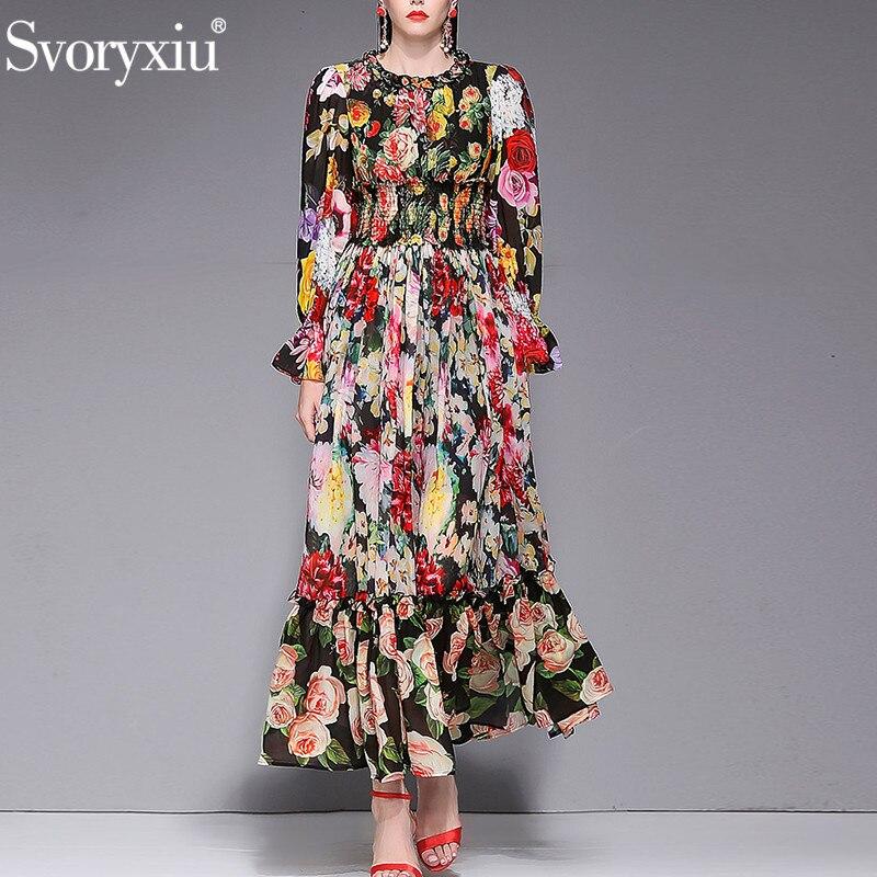 Svoryxiu Women s Spring Summer Runway Custom Big Size Maxi Dress Elegant Charming Flower Print Bohemian