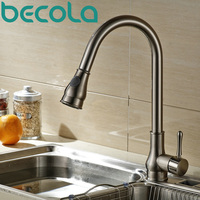 Becola NEW Design Pull Out Brushed Nickel Kitchen Faucet Brass Kitchen Mixer Swivel Sink Tap B