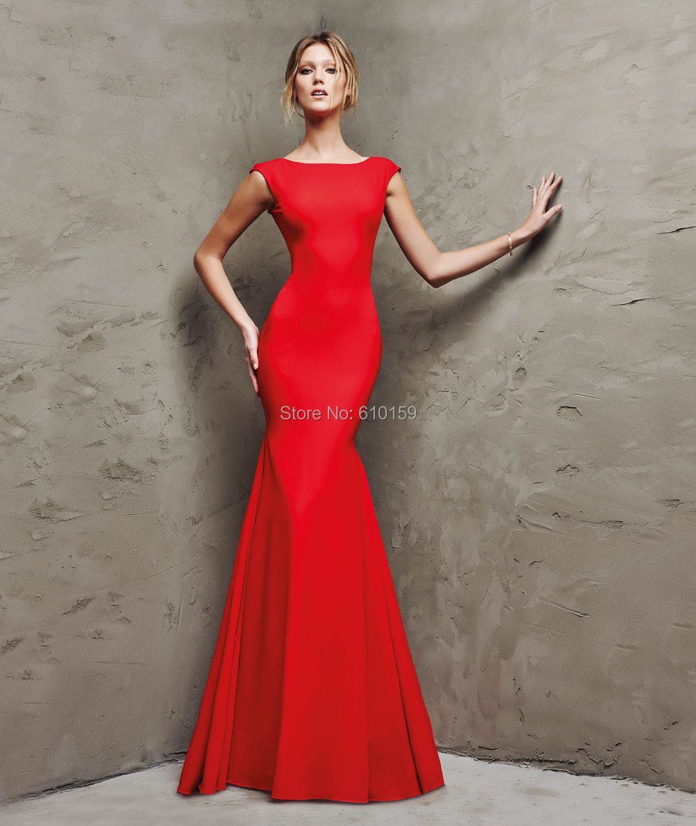 2015 smple backless elie saab evening dresses Jersey long red ...
