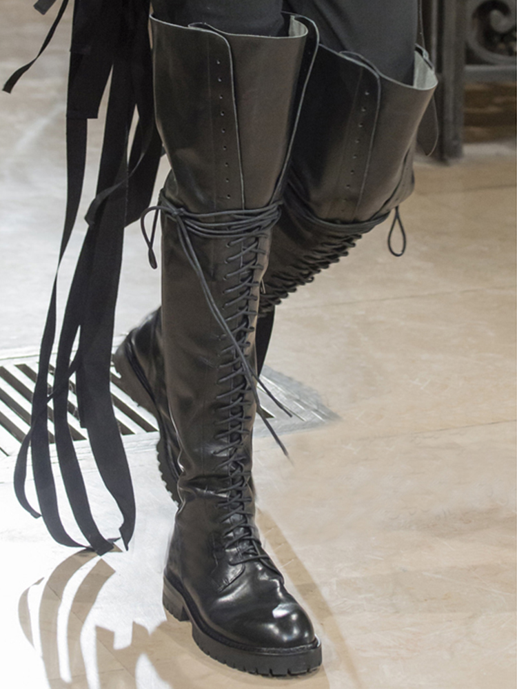 Thigh High Boots Fashion Real Leather Lace Up Runway Shoes Combat Boots For Women Black Gladiator Shoes Women Luxury Designers