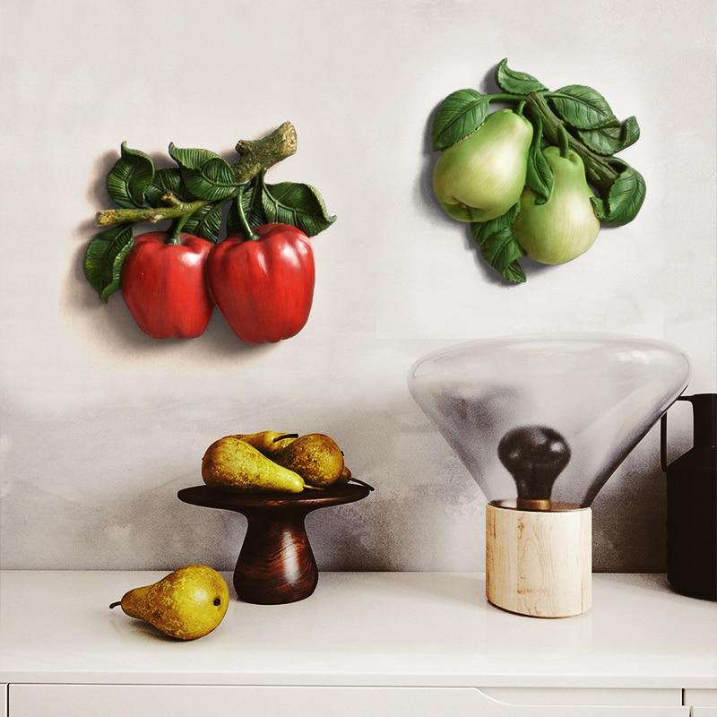 3D mur autocollant fruits légumes résine tenture murale décoration de la maison décoration De mur de Cuisine de pomme de terre graps pommes