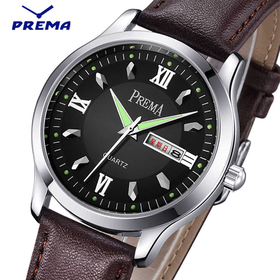 PREMA 2016 Mens Watches Top Brand Luxury Leather Strap Analog Casual Sports Clock Men Quartz Military Watch Relogio Masculino new curren mens casual watches top brand luxury wrist watches male clock men leather strap analog quartz military watch gift