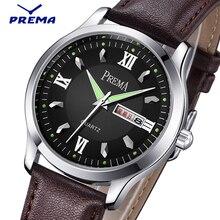 PREMA 2016 Mens Watches Top Brand Luxury Leather Strap Analog Casual Sports Clock Men Quartz Military Watch Relogio Masculino