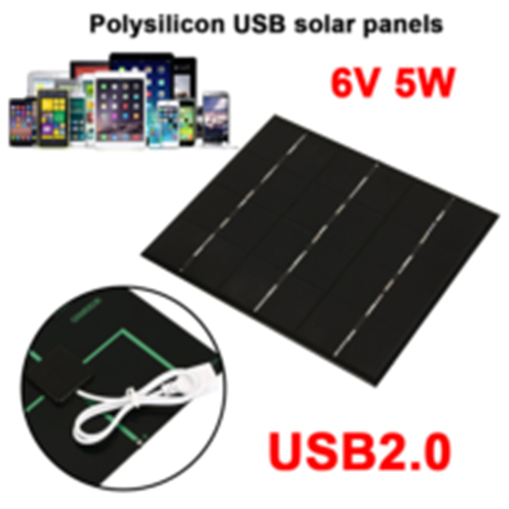 Amzdeal Solar Generator Fast Charger 5W 6V USB Solar Panel Climbing Solar Charger Pane Phone Charger Outdoor Accessories