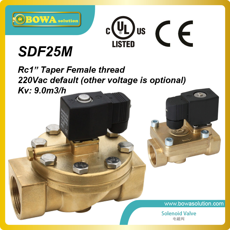 Rc 1  taper female thread copper Solenoid Valves for pneumatic hydraulic and food machine application thermo operated water valves can be used in food processing equipments biomass boilers and hydraulic systems