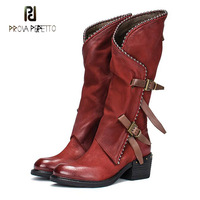 Prova Perfetto do old genuine leather knight martin boots women metal beading buckle decor zipper side mid calf boots females