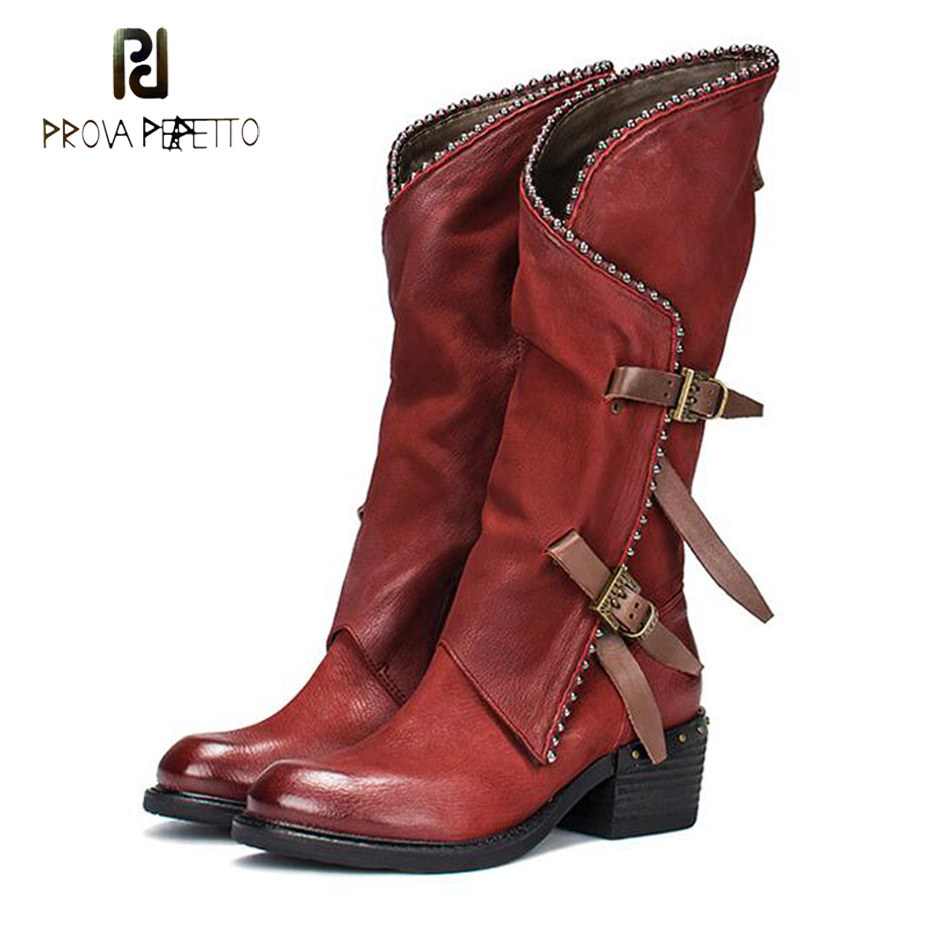 Prova Perfetto ne vieux cuir véritable chevalier martin bottes femmes en métal perles boucle décor zipper côté mi-mollet bottes femmes