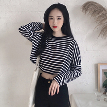 Autumn New Women s Clothing black white Striped loose crop top O-neck long  sleeve Tees 0bb629b0b8e5