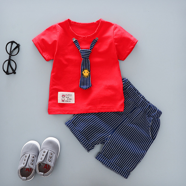 1bf0ae8ef 2017 Summer New Baby Boys Clothing Set 2pcs Short-sleeved T-shirt Tops  Pants Fashion Kids Suit Smiling Face Tie Gentleman Suit