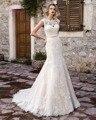 Dreagel Мода О-Образным Вырезом Аппликации Кот Русалка Свадебное Платье 2017 Новый Ariival Зашнуровать Тонкий Платье Невесты Robe De Mariage Плюс размер