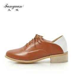 Fanyuan/весенние разноцветные Обувь с перфорацией типа «броги» женские комфортные туфли обувь на шнуровке с округлым мысом Повседневное с