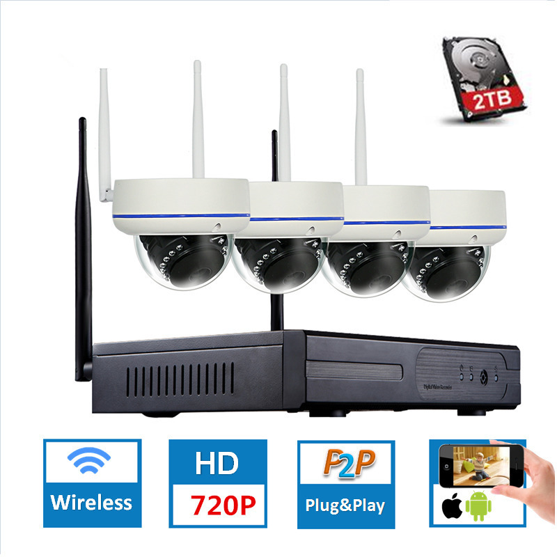 4CH 720P HD Wireless CCTV System Dome Waterproof Vandal WIFI NVR IP Camera IR CUT CCTV wifi Security video Surveillance Kits