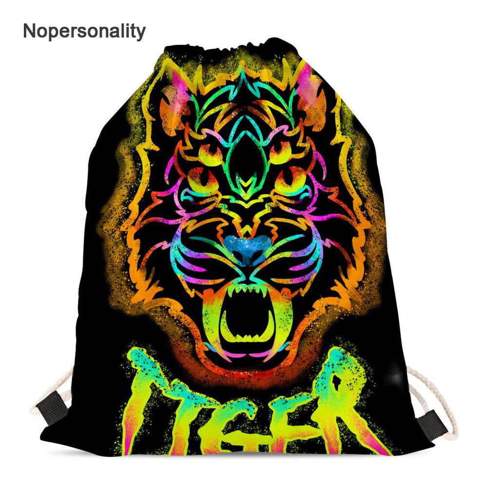 Nopersonality Colorful Men Women Tiger Head Drawstring Bags Cool Kids Travel Storage Pouch Portable Girls String
