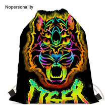 Nopersonality Colorful Men Women Tiger Head Drawstring Bags Cool Kids Travel Storage Pouch Portable Girls String Backpack